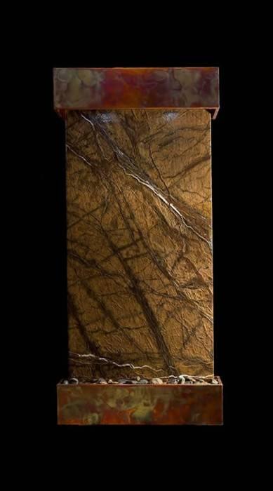 poza fantana de perete tablou realizata din marmura antichizata si elemente componente din cupru - model realizat de bluConcept