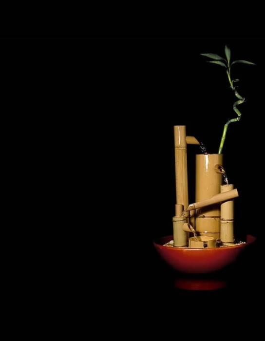 poza produs fantana feng shui de interior din bambus si piatra model 5 Izvoare - bluConcept