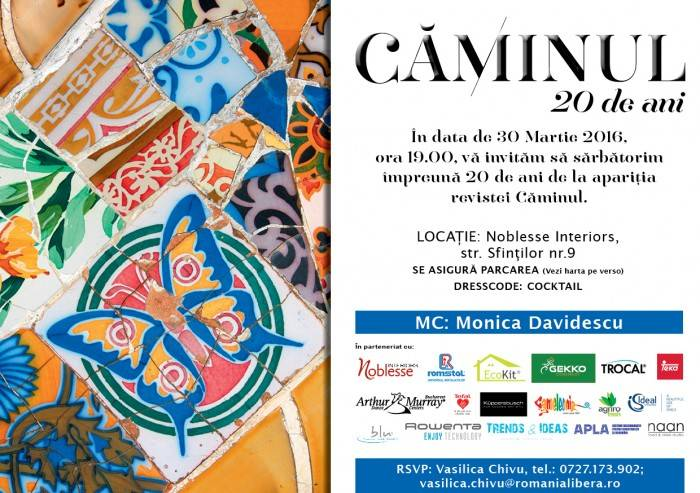 Poza eveniment cu fantani decorative - aniversare revista Caminul