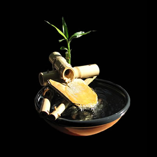Picture of small indoor Zen fountain made from natural bamboo