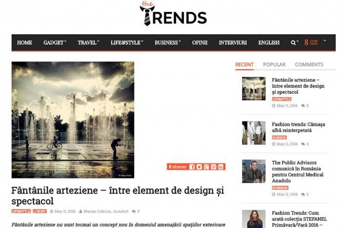 imagine aparitie articol the Trends cu fantanile arteziene bluConcept