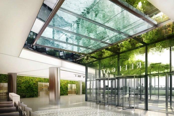poza cu perdea de apa pentru interior de birouri, realizata dupa un concept unic de ploaie tropicala intr-o piscina de sticla suspendata - bluConcept